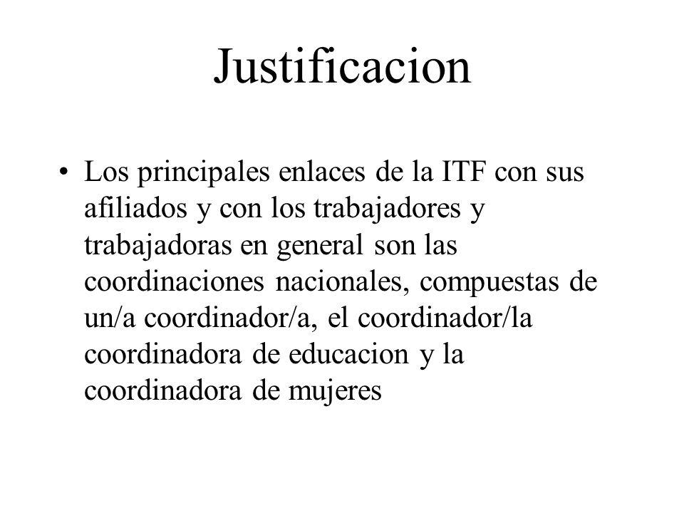Justificacion Los principales enlaces de la ITF con sus afiliados y con los trabajadores y trabajadoras en general son las coordinaciones nacionales,