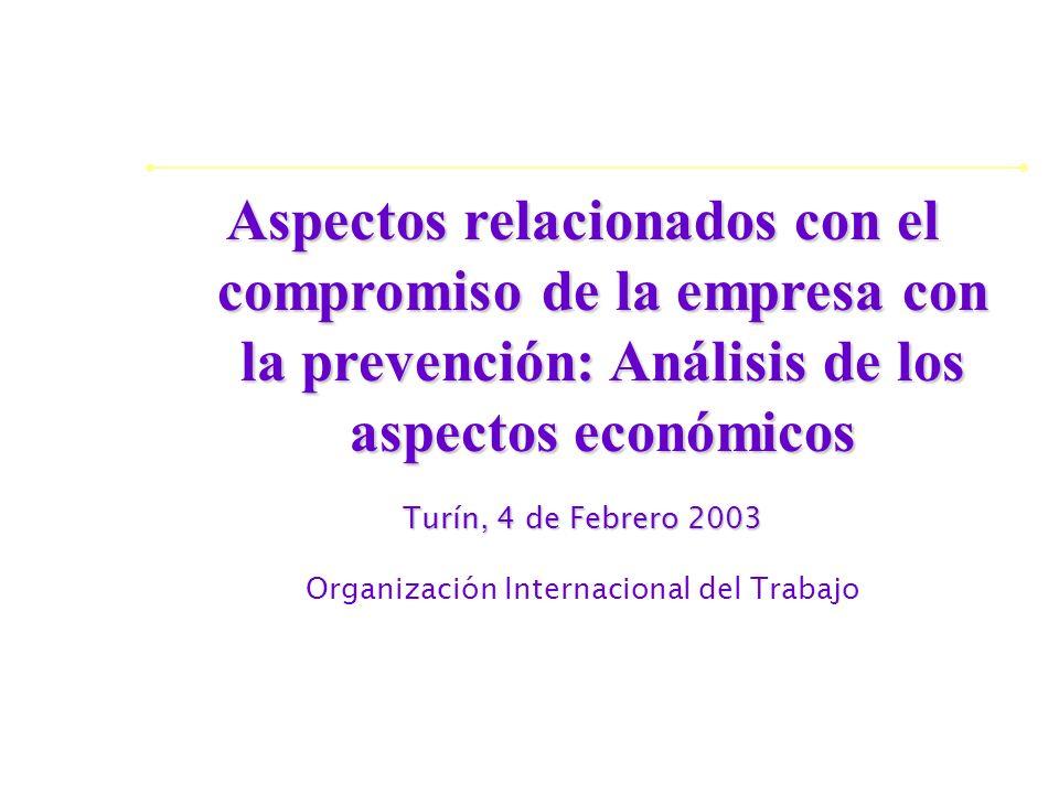 Aspectos relacionados con el compromiso de la empresa con la prevención: Análisis de los aspectos económicos Turín, 4 de Febrero 2003 Organización Int