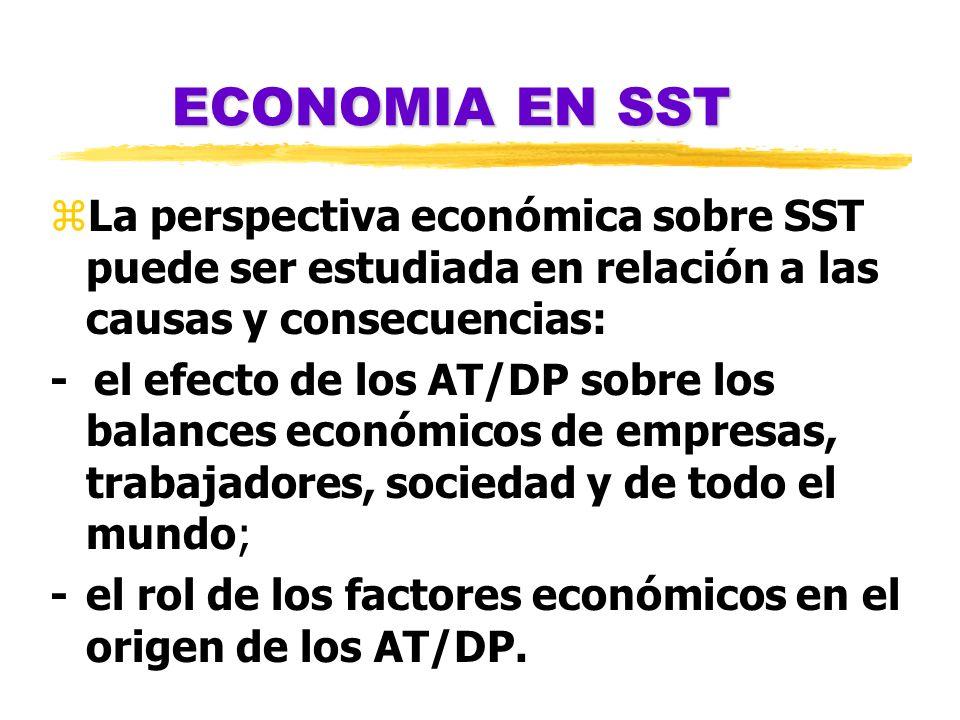ECONOMIA EN SST zLa perspectiva económica sobre SST puede ser estudiada en relación a las causas y consecuencias: - el efecto de los AT/DP sobre los b