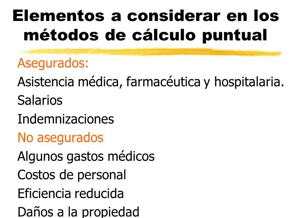 Elementos a considerar en los métodos de cálculo puntual Asegurados: Asistencia médica, farmacéutica y hospitalaria. Salarios Indemnizaciones No asegu