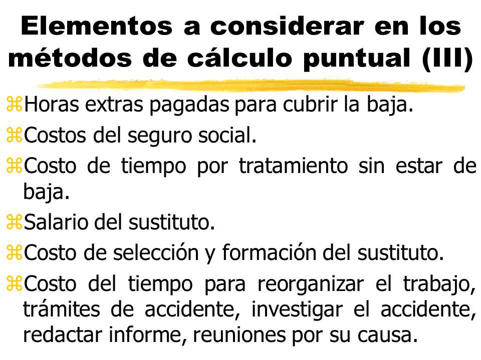 Elementos a considerar en los métodos de cálculo puntual (III) zHoras extras pagadas para cubrir la baja. zCostos del seguro social. zCosto de tiempo