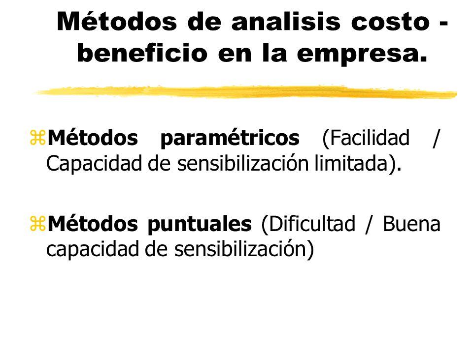Métodos de analisis costo - beneficio en la empresa. zMétodos paramétricos (Facilidad / Capacidad de sensibilización limitada). zMétodos puntuales (Di