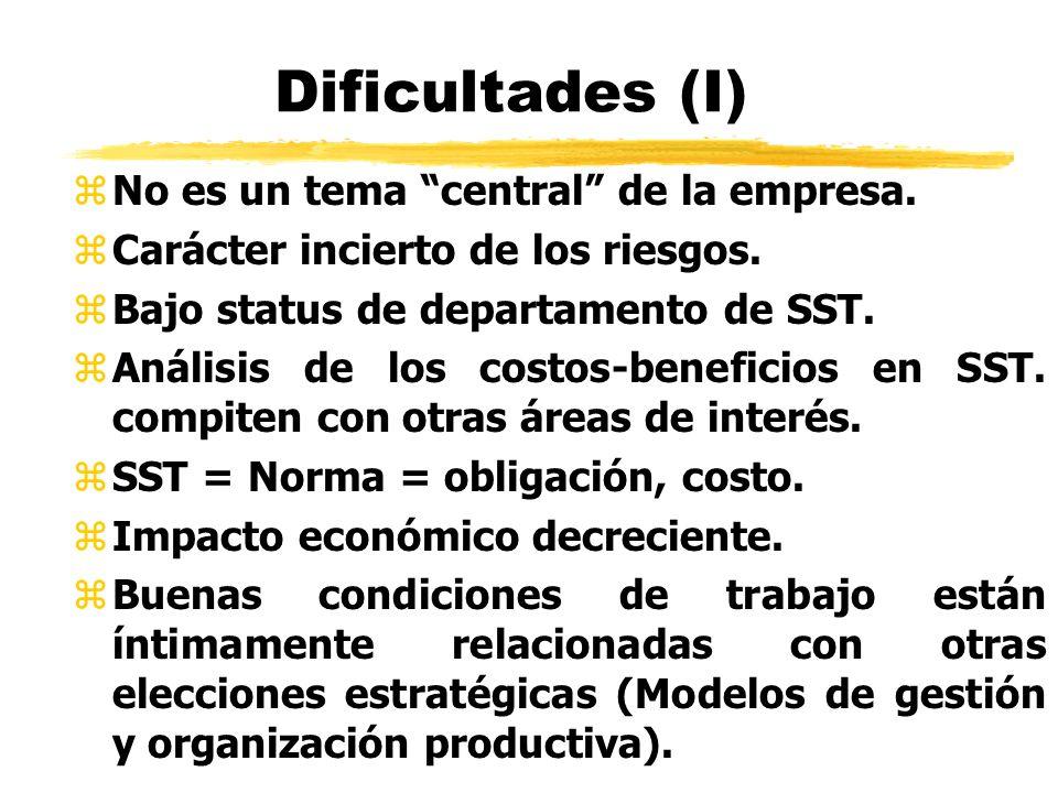 Dificultades (I) zNo es un tema central de la empresa. zCarácter incierto de los riesgos. zBajo status de departamento de SST. zAnálisis de los costos