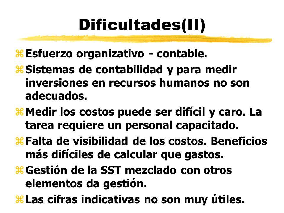 Dificultades(II) zEsfuerzo organizativo - contable. zSistemas de contabilidad y para medir inversiones en recursos humanos no son adecuados. zMedir lo