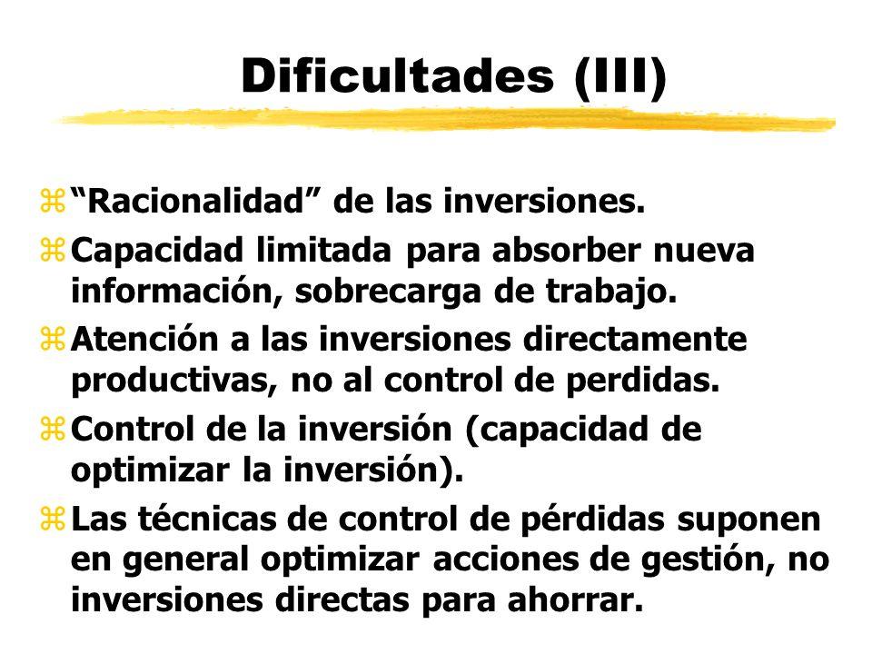 Dificultades (III) zRacionalidad de las inversiones. zCapacidad limitada para absorber nueva información, sobrecarga de trabajo. zAtención a las inver
