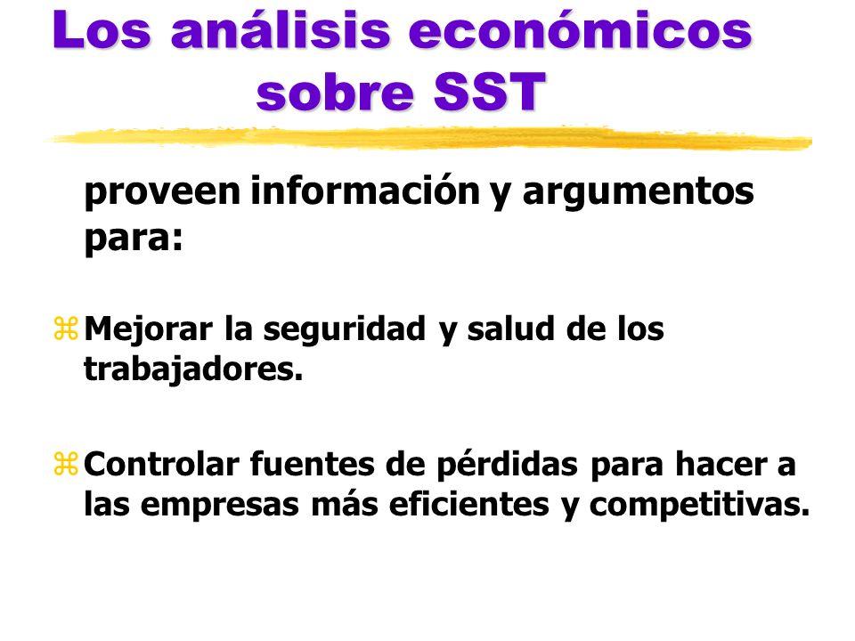 Los análisis económicos sobre SST proveen información y argumentos para: zMejorar la seguridad y salud de los trabajadores. zControlar fuentes de pérd