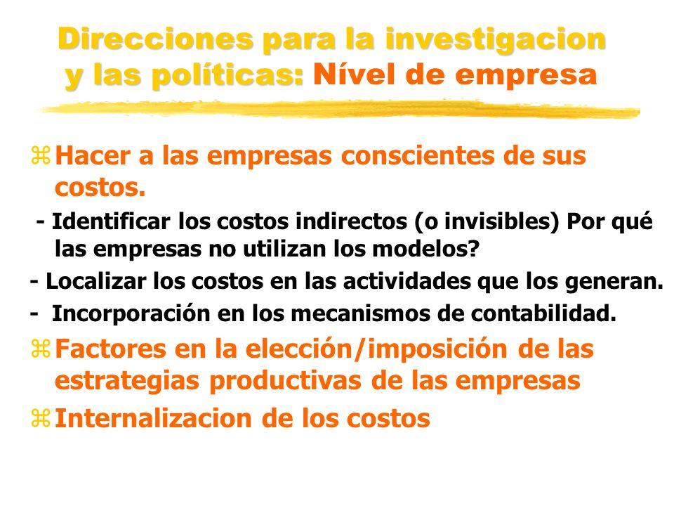 Direcciones para la investigacion y las políticas: Direcciones para la investigacion y las políticas: Nível de empresa zHacer a las empresas conscient