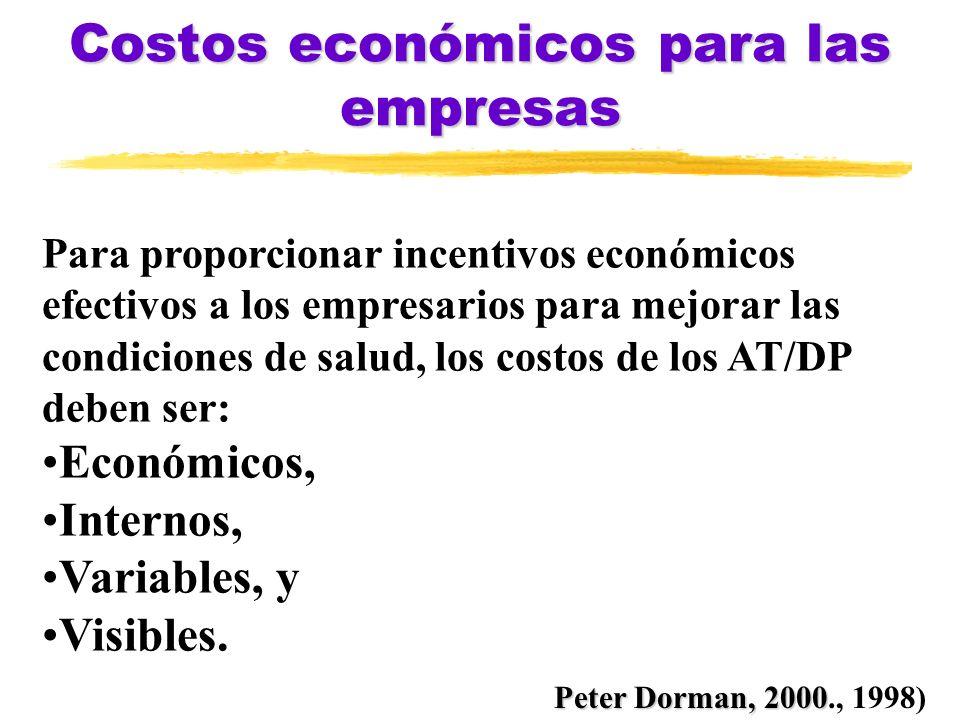 Costos económicos para las empresas Para proporcionar incentivos económicos efectivos a los empresarios para mejorar las condiciones de salud, los cos