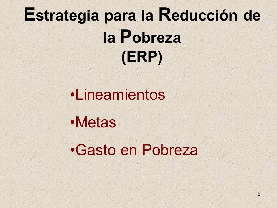 5 E strategia para la R educción de la P obreza (ERP) Lineamientos Metas Gasto en Pobreza