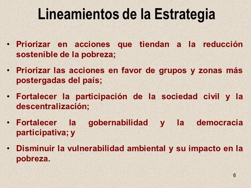 6 Lineamientos de la Estrategia Priorizar en acciones que tiendan a la reducción sostenible de la pobreza; Priorizar las acciones en favor de grupos y