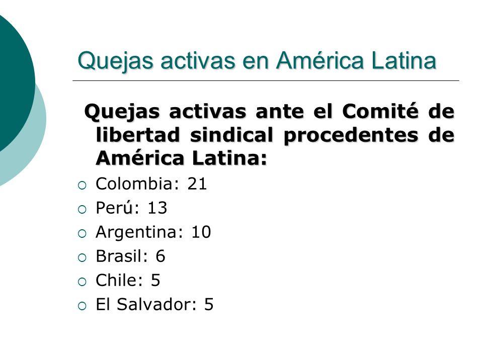 Quejas activas en América Latina Quejas activas ante el Comité de libertad sindical procedentes de América Latina: Quejas activas ante el Comité de li