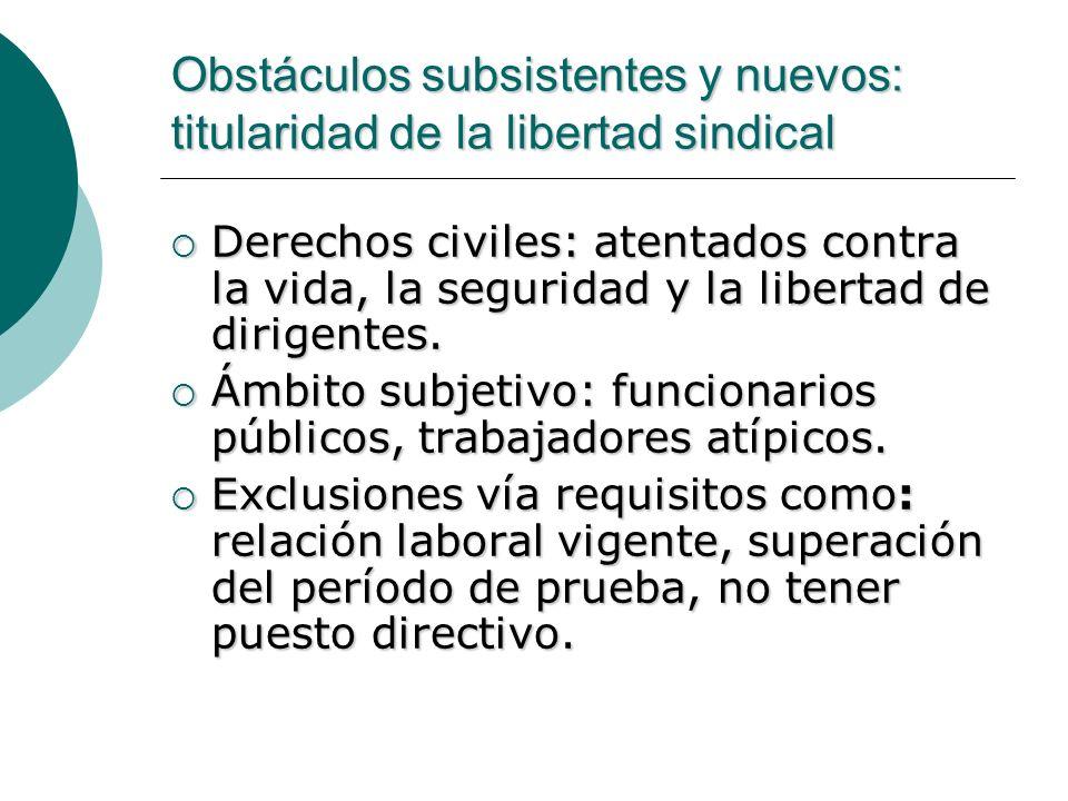 Obstáculos subsistentes y nuevos: titularidad de la libertad sindical Derechos civiles: atentados contra la vida, la seguridad y la libertad de dirige