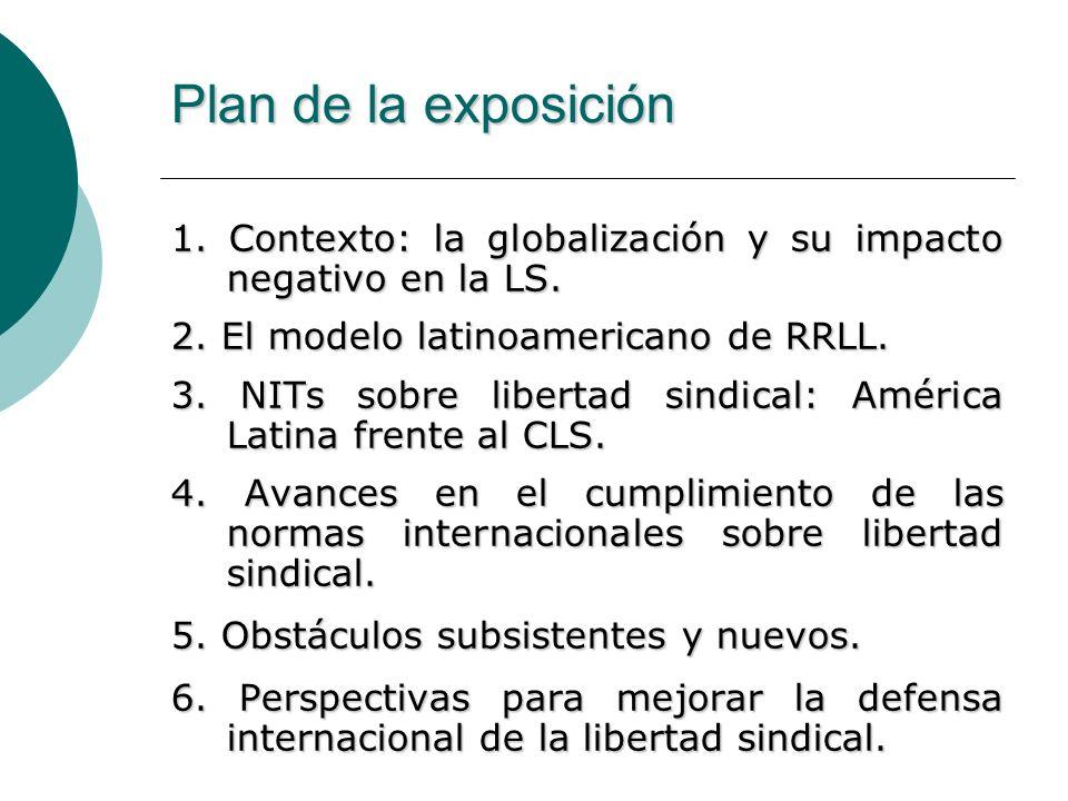 Plan de la exposición 1. Contexto: la globalización y su impacto negativo en la LS. 2. El modelo latinoamericano de RRLL. 3. NITs sobre libertad sindi