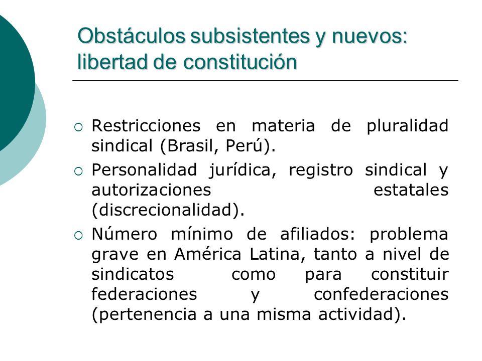 Obstáculos subsistentes y nuevos: libertad de constitución Restricciones en materia de pluralidad sindical (Brasil, Perú). Personalidad jurídica, regi