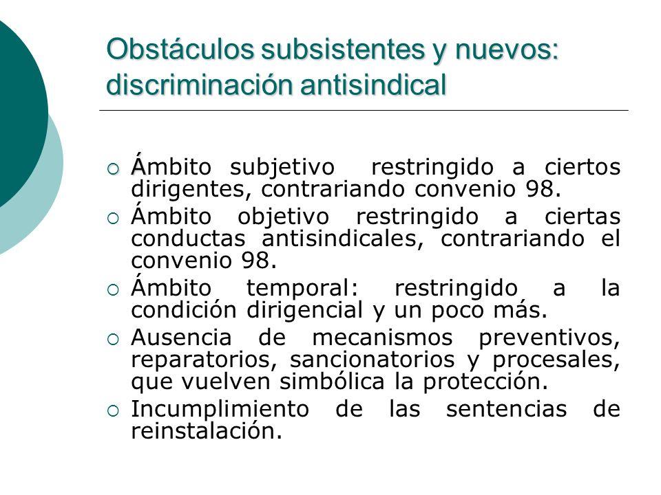 Obstáculos subsistentes y nuevos: discriminación antisindical Á Ámbito subjetivo restringido a ciertos dirigentes, contrariando convenio 98. Ámbito ob