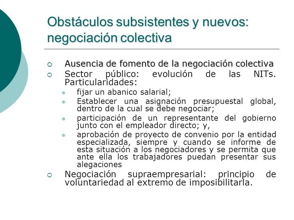 Obstáculos subsistentes y nuevos: negociación colectiva Ausencia de fomento de la negociación colectiva Ausencia de fomento de la negociación colectiv