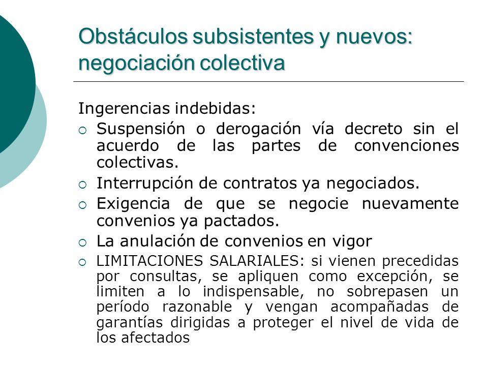 Obstáculos subsistentes y nuevos: negociación colectiva Ingerencias indebidas: Suspensión o derogación vía decreto sin el acuerdo de las partes de con