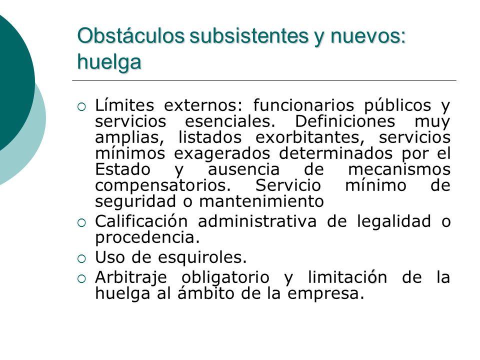 Obstáculos subsistentes y nuevos: huelga Límites externos: funcionarios públicos y servicios esenciales. Definiciones muy amplias, listados exorbitant