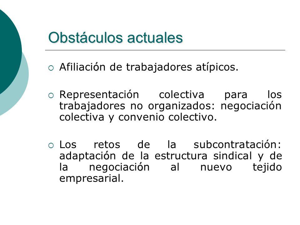 Obstáculos actuales ó Afiliación de trabajadores atípicos. Representación colectiva para los trabajadores no organizados: negociación colectiva y conv