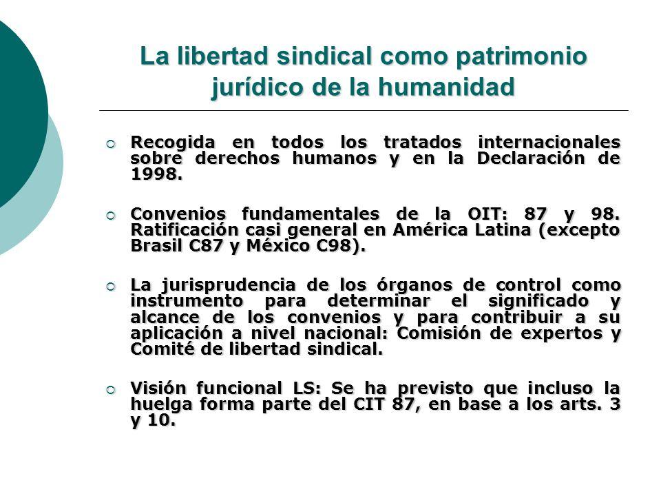 La libertad sindical como patrimonio jurídico de la humanidad Recogida en todos los tratados internacionales sobre derechos humanos y en la Declaració