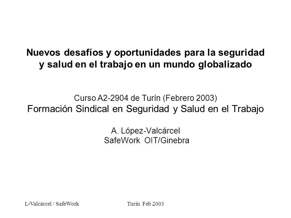 L-Valcárcel / SafeWorkTurín Feb 2003 Nuevos desafíos y oportunidades para la SST 1.