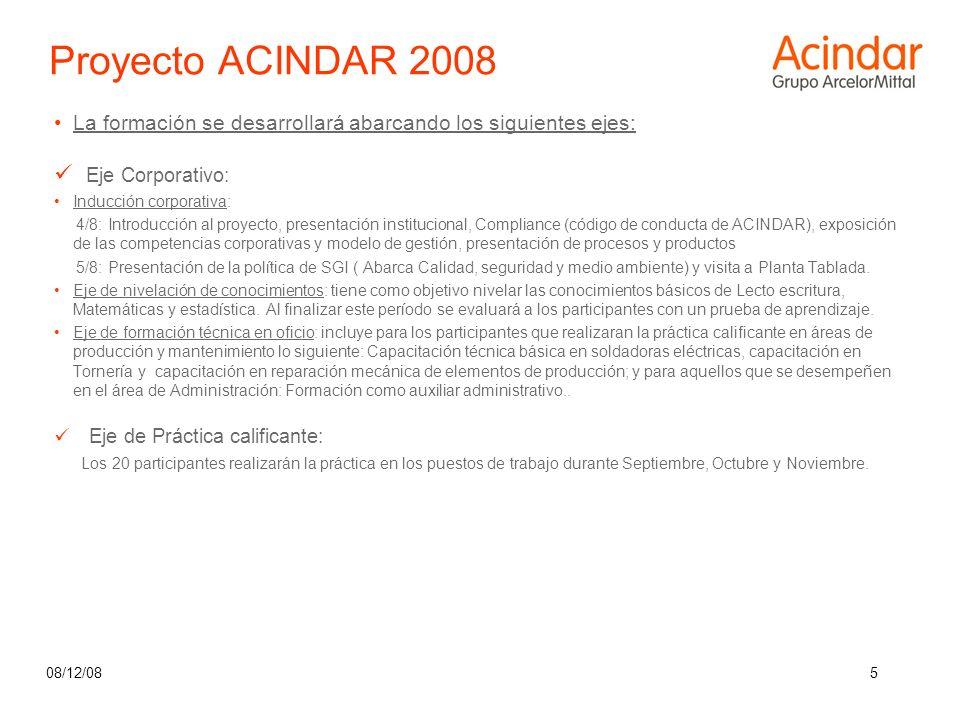 08/12/085 La formación se desarrollará abarcando los siguientes ejes: Eje Corporativo: Inducción corporativa: 4/8: Introducción al proyecto, presentac
