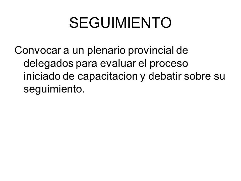 SEGUIMIENTO Convocar a un plenario provincial de delegados para evaluar el proceso iniciado de capacitacion y debatir sobre su seguimiento.