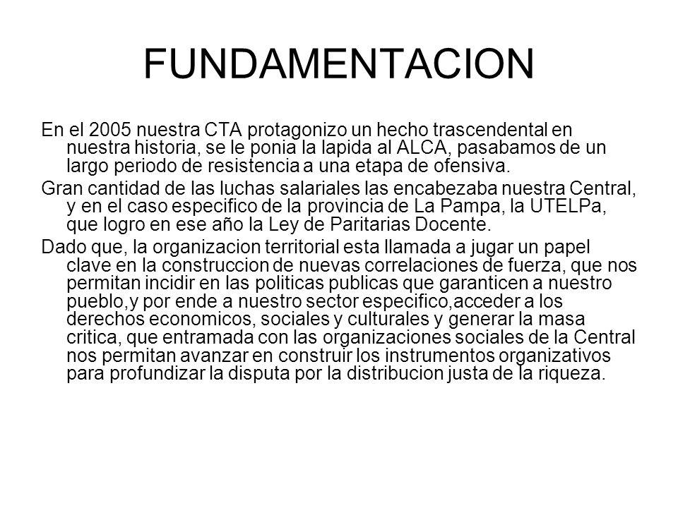 FUNDAMENTACION En el 2005 nuestra CTA protagonizo un hecho trascendental en nuestra historia, se le ponia la lapida al ALCA, pasabamos de un largo periodo de resistencia a una etapa de ofensiva.