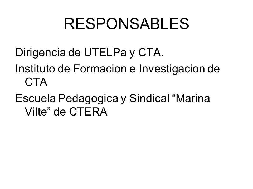 RESPONSABLES Dirigencia de UTELPa y CTA.