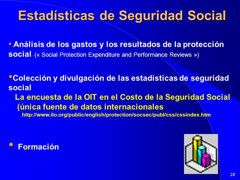 28 Estadísticas de Seguridad Social Análisis de los gastos y los resultados de la protección social (« Social Protection Expenditure and Performance R