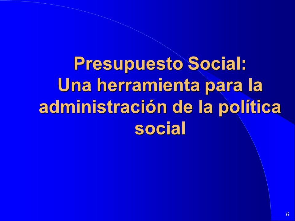 6 Presupuesto Social: Una herramienta para la administración de la política social