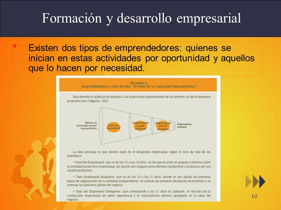 10 Formación y desarrollo empresarial Existen dos tipos de emprendedores: quienes se inician en estas actividades por oportunidad y aquellos que lo ha