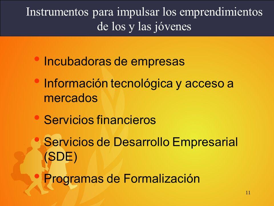 11 Incubadoras de empresas Información tecnológica y acceso a mercados Servicios financieros Servicios de Desarrollo Empresarial (SDE) Programas de Fo