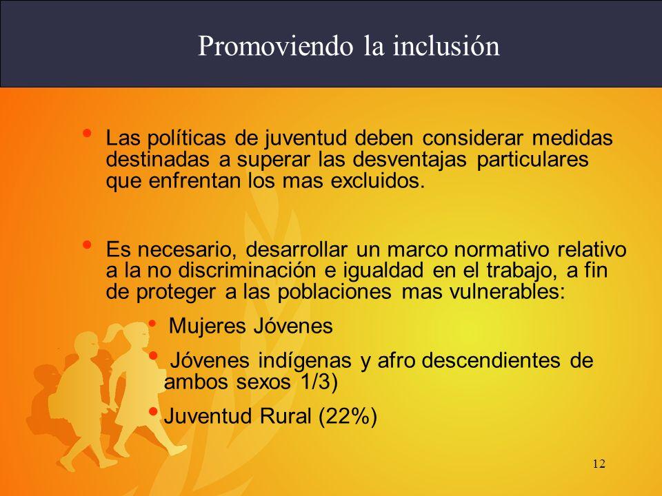 12 Las políticas de juventud deben considerar medidas destinadas a superar las desventajas particulares que enfrentan los mas excluidos. Es necesario,