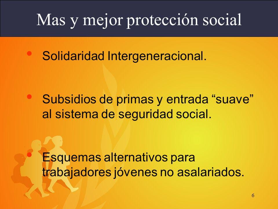 6 Solidaridad Intergeneracional. Subsidios de primas y entrada suave al sistema de seguridad social. Esquemas alternativos para trabajadores jóvenes n