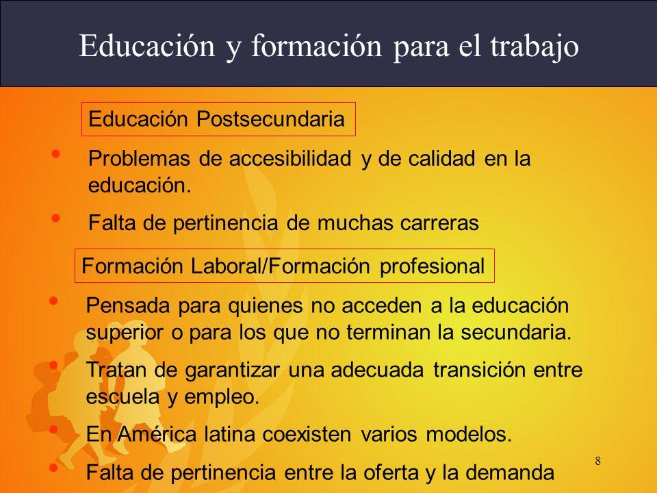 8 Problemas de accesibilidad y de calidad en la educación. Falta de pertinencia de muchas carreras Educación y formación para el trabajo Educación Pos