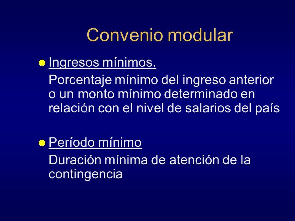 Convenio modular Ingresos mínimos. Porcentaje mínimo del ingreso anterior o un monto mínimo determinado en relación con el nivel de salarios del país