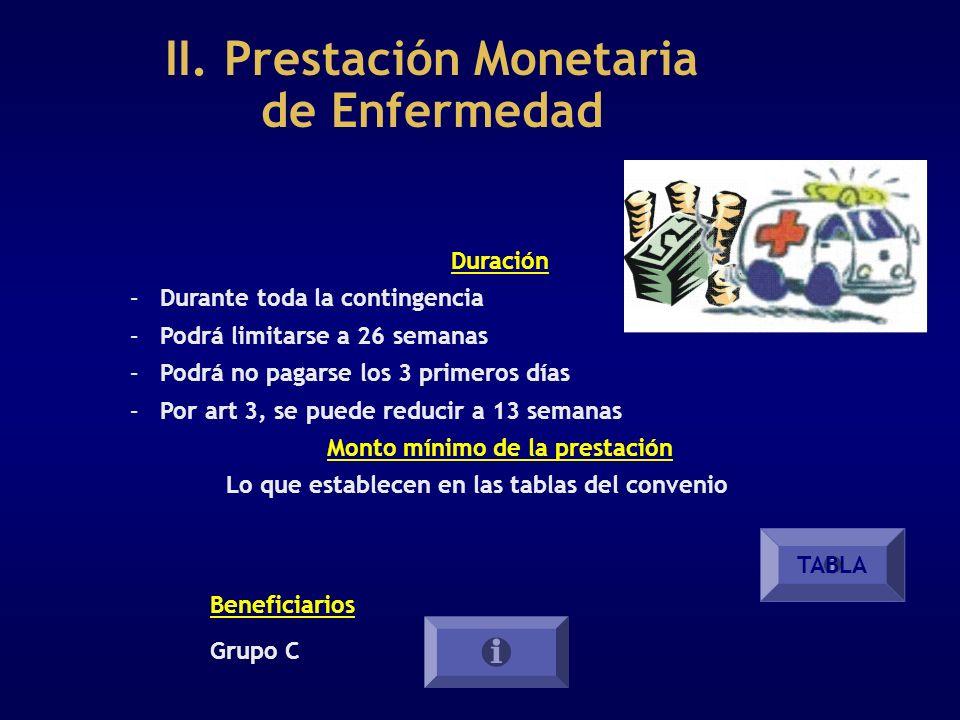 II. Prestación Monetaria de Enfermedad Duración – Durante toda la contingencia – Podrá limitarse a 26 semanas – Podrá no pagarse los 3 primeros días –