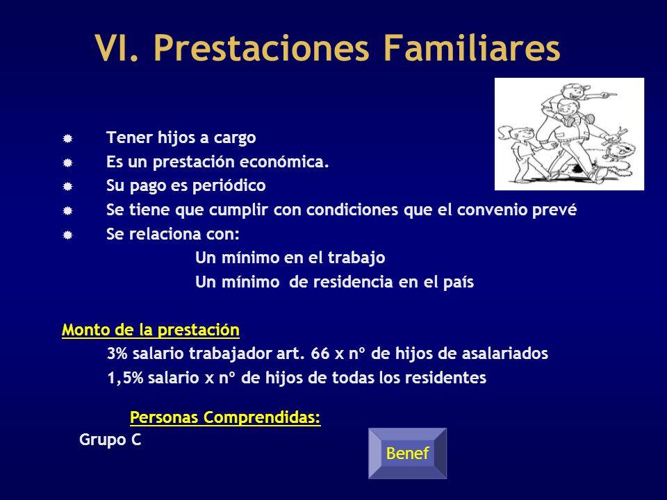 VI. Prestaciones Familiares Tener hijos a cargo Es un prestación económica. Su pago es periódico Se tiene que cumplir con condiciones que el convenio