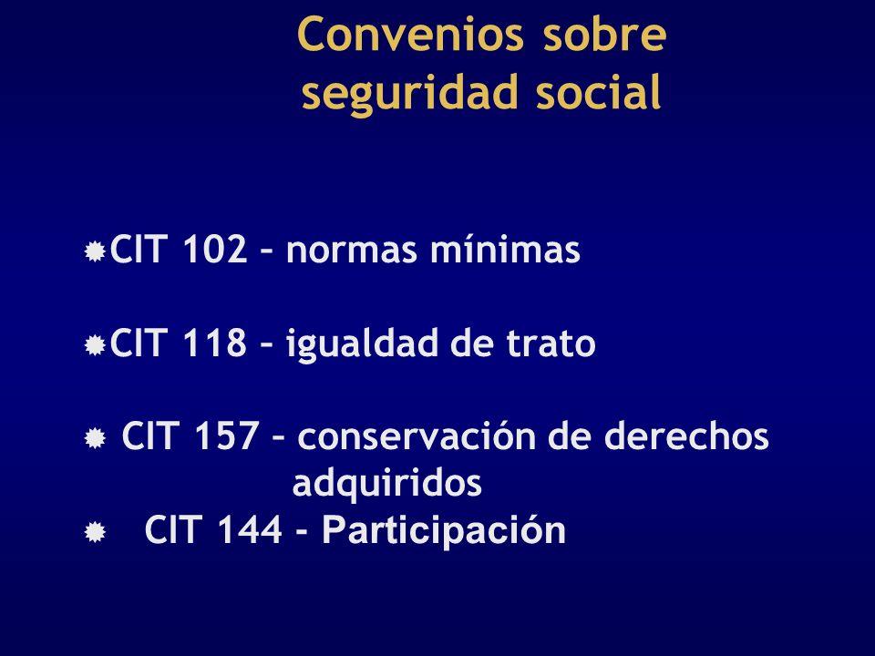 Convenios sobre seguridad social CIT 102 – normas mínimas CIT 118 – igualdad de trato CIT 157 – conservación de derechos adquiridos CIT 144 - Particip