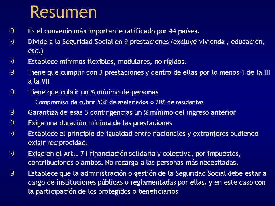 Resumen 9 Es el convenio más importante ratificado por 44 países. 9 Divide a la Seguridad Social en 9 prestaciones (excluye vivienda, educación, etc.)
