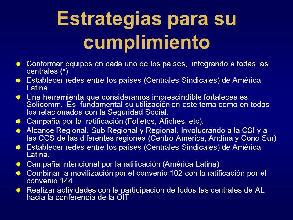 Estrategias para su cumplimiento Conformar equipos en cada uno de los países, integrando a todas las centrales (*) Establecer redes entre los países (