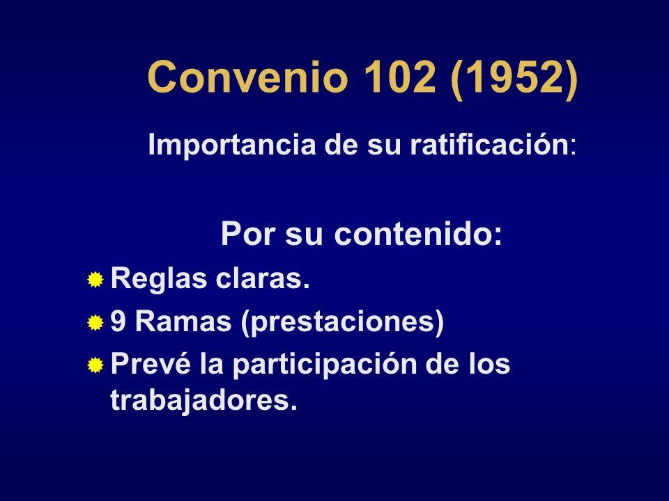 Convenio 102 (1952) Importancia de su ratificación: Por su contenido: Reglas claras. 9 Ramas (prestaciones) Prevé la participación de los trabajadores