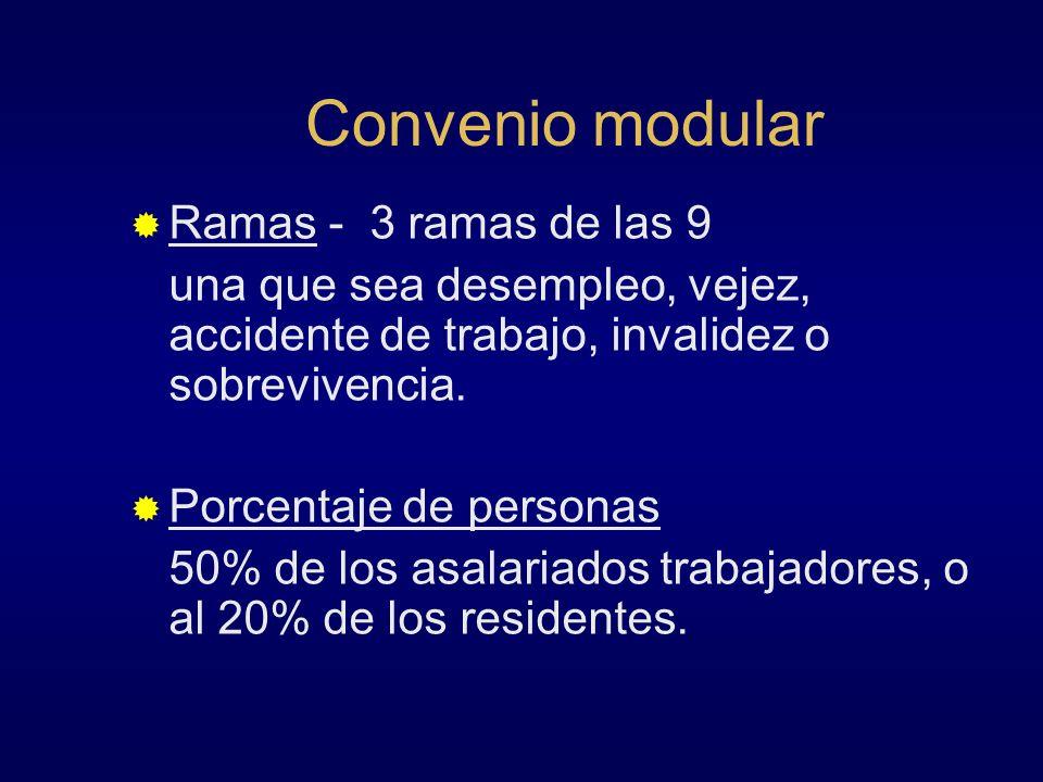 Convenio modular Ramas - 3 ramas de las 9 una que sea desempleo, vejez, accidente de trabajo, invalidez o sobrevivencia. Porcentaje de personas 50% de