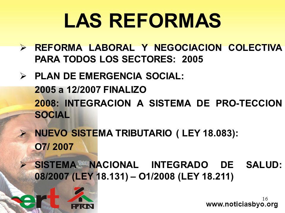 www.noticiasbyo.org 16 LAS REFORMAS REFORMA LABORAL Y NEGOCIACION COLECTIVA PARA TODOS LOS SECTORES: 2005 PLAN DE EMERGENCIA SOCIAL: 2005 a 12/2007 FI