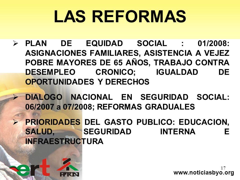 www.noticiasbyo.org 17 LAS REFORMAS PLAN DE EQUIDAD SOCIAL : 01/2008: ASIGNACIONES FAMILIARES, ASISTENCIA A VEJEZ POBRE MAYORES DE 65 AÑOS, TRABAJO CO