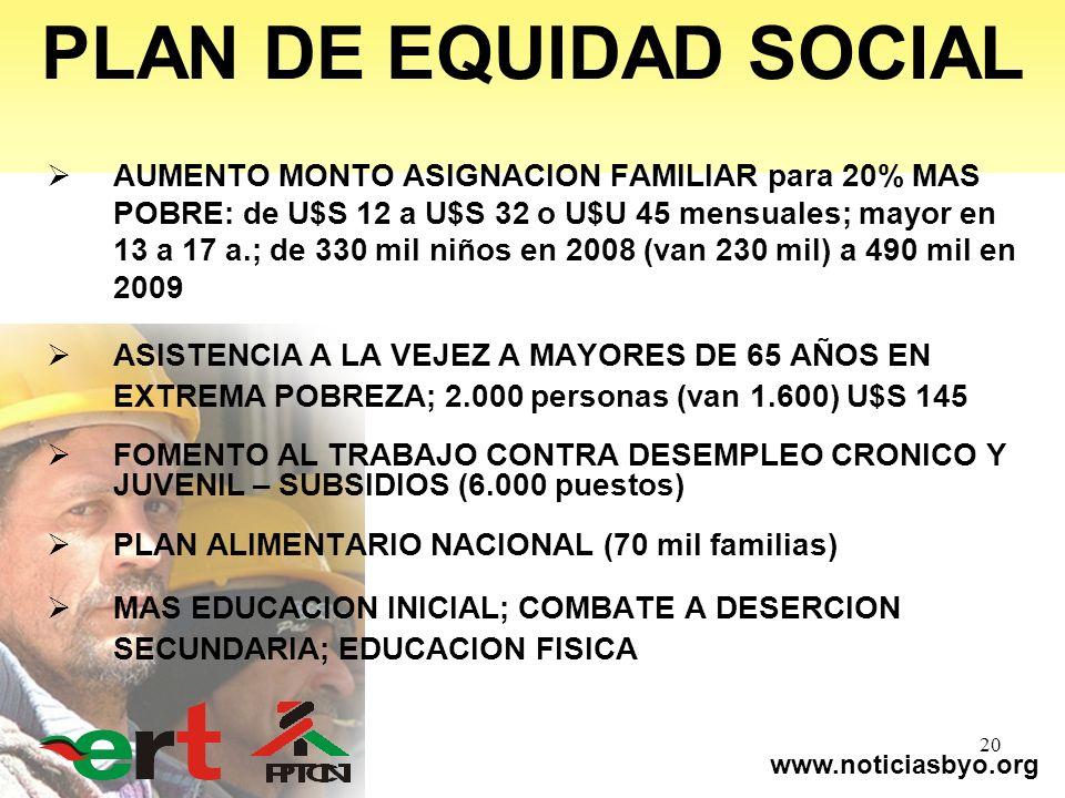 www.noticiasbyo.org 20 PLAN DE EQUIDAD SOCIAL AUMENTO MONTO ASIGNACION FAMILIAR para 20% MAS POBRE: de U$S 12 a U$S 32 o U$U 45 mensuales; mayor en 13