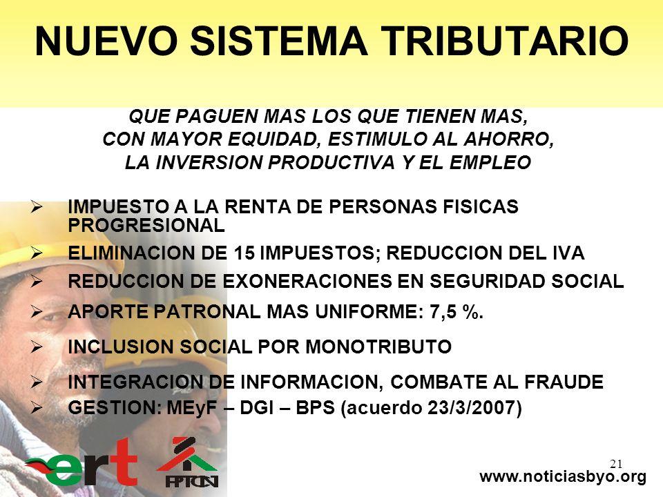 www.noticiasbyo.org 21 NUEVO SISTEMA TRIBUTARIO QUE PAGUEN MAS LOS QUE TIENEN MAS, CON MAYOR EQUIDAD, ESTIMULO AL AHORRO, LA INVERSION PRODUCTIVA Y EL