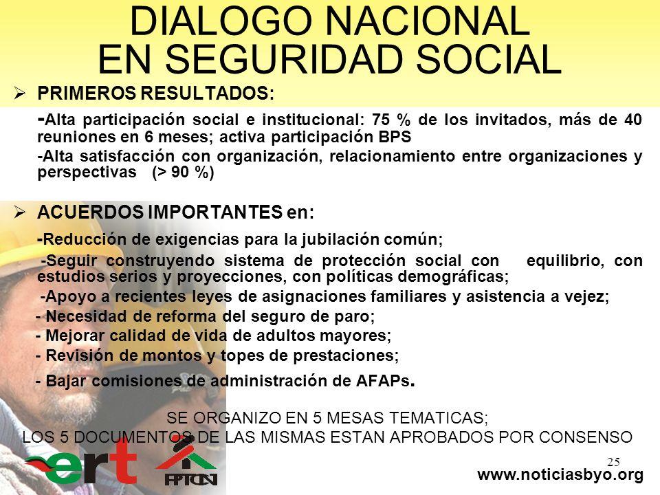 www.noticiasbyo.org 25 DIALOGO NACIONAL EN SEGURIDAD SOCIAL PRIMEROS RESULTADOS: - Alta participación social e institucional: 75 % de los invitados, m