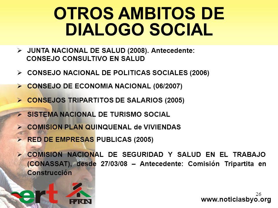 www.noticiasbyo.org 26 OTROS AMBITOS DE DIALOGO SOCIAL JUNTA NACIONAL DE SALUD (2008). Antecedente: CONSEJO CONSULTIVO EN SALUD CONSEJO NACIONAL DE PO